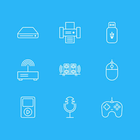 Vector Illustration Of 9 Accessory Icons. Editable Pack Of Photocopier, Modem, Media Controller And Other Elements.