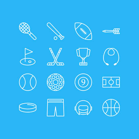Vector Illustration Of 16 Athletic Icons. Editable Pack Of Tennis, Cue, Golf And Other Elements.