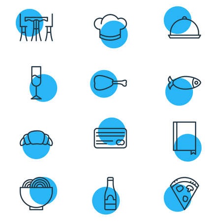 grain: Vector Illustration Of 12 Restaurant Icons. Editable Pack Of Pepperoni, Table, Leg And Other Elements.