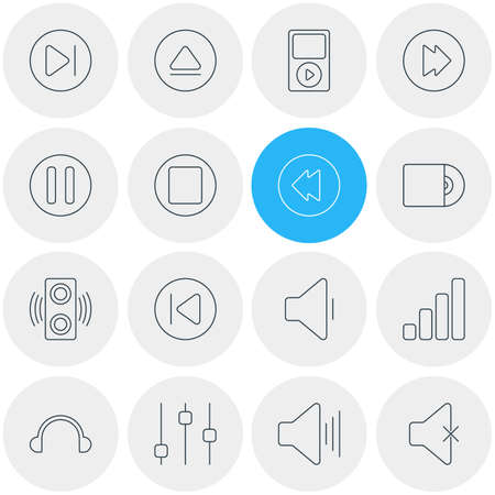 reversing: Vector Illustration Of 16 Music Icons. Editable Pack Of Advanced, Amplifier, Rewind And Other Elements. Illustration