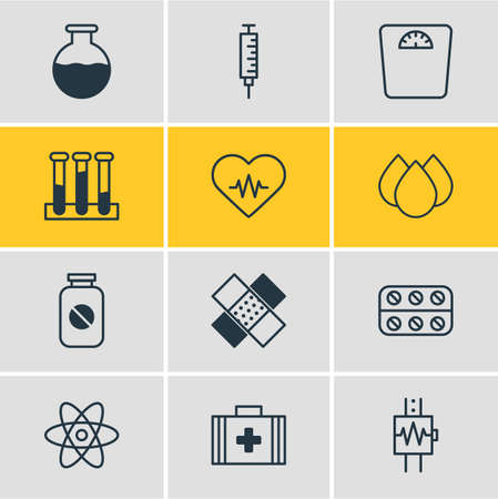 soundness: Vector Illustration Of 12 Medicine Icons. Editable Pack Of Vaccinator, Vial, Trickle And Other Elements. Illustration