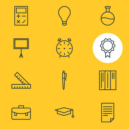competitions: Vector Illustration Of 12 Studies Icons. Editable Pack Of Bulb, Cap, Bookshelf And Other Elements. Illustration