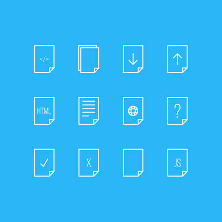 alright: Vector Illustration Of 12 Page Icons. Editable Pack Of Done, HTML, Download And Other Elements. Illustration