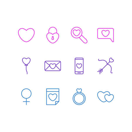 Vector Illustration Of 12 Amour Icons. Editable Pack Of Cupid, Decoration, Smartphone And Other Elements. Illustration