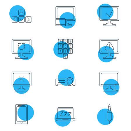 Illustration vectorielle de 12 icônes de cahier. Pack modifiable de Jack d'entrée, clavier numérique, d'avertissement et d'autres éléments.