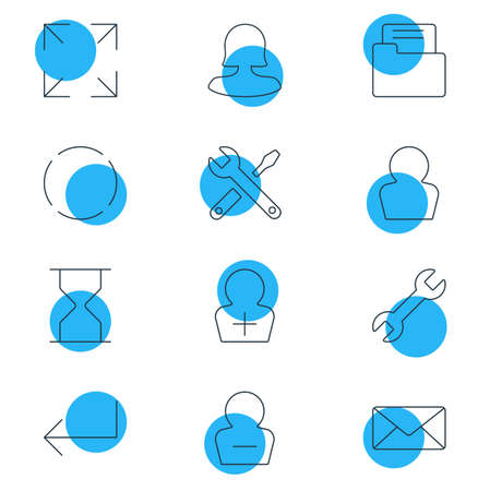 profile measurement: Vector Illustration Of 12 Interface Icons. Editable Pack Of Wrench, Avatar, Envelope And Other Elements.