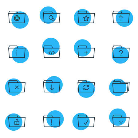 Vector Illustration Of 16 Folder Icons. Editable Pack Of Upload, Information, Magnifier And Other Elements.