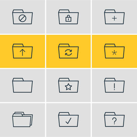 Vector Illustration Of 12 Folder Icons. Editable Pack Of Plus, Submit, Pinned And Other Elements.