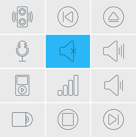 subsequent: Vector Illustration Of 12 Music Icons. Editable Pack Of Rewind, Mike, Amplifier And Other Elements. Illustration