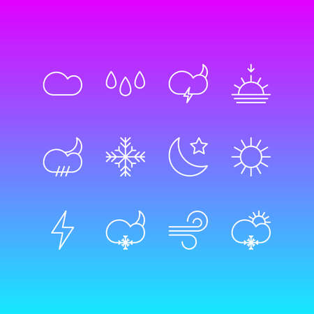 Vector Illustration Of 12 Weather Icons. Editable Pack Of Crescent, Snow, Lightning And Other Elements. Illustration