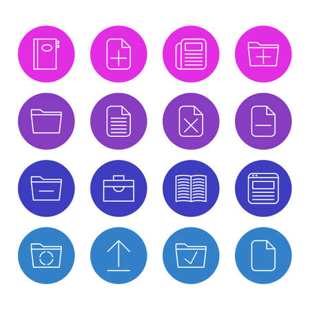 addition: Vector Illustration Of 16 Office Icons. Editable Pack Of Minus, Book, Remove And Other Elements. Illustration