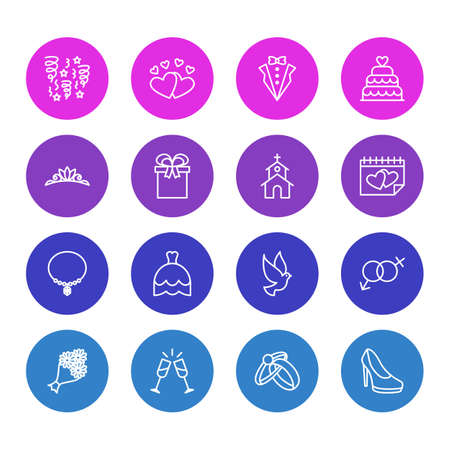 Vector Illustration Of 16 Marriage Icons Stock Vector - 82445981