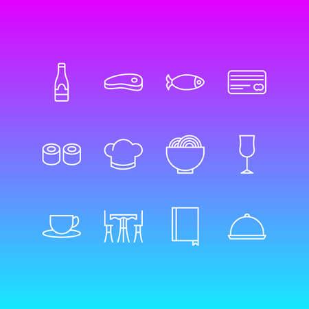 Vector Illustration Of 12 Restaurant Icons