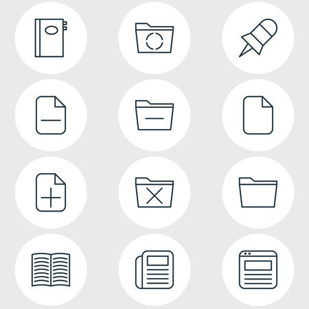 Vector Illustration Of 12 Bureau Icons. Editable Pack Of Book, Journal, Deleting Folder And Other Elements.