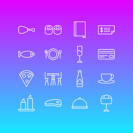 Vector Illustration Of 16 Restaurant Icons. Editable Pack Of Alcohol, Japanese Roll, Seafood And Other Elements.