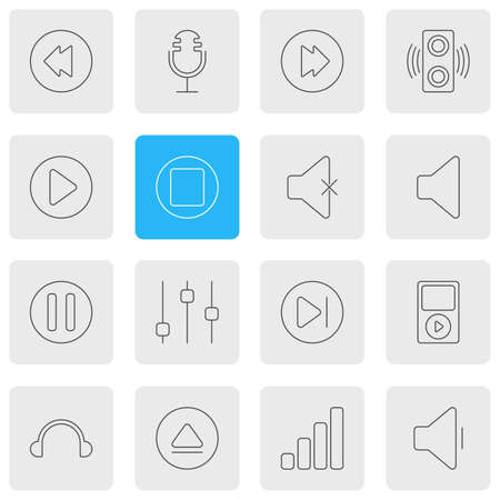 subsequent: Vector Illustration Of 16 Melody Icons. Editable Pack Of Start, Soundless, Amplifier And Other Elements.