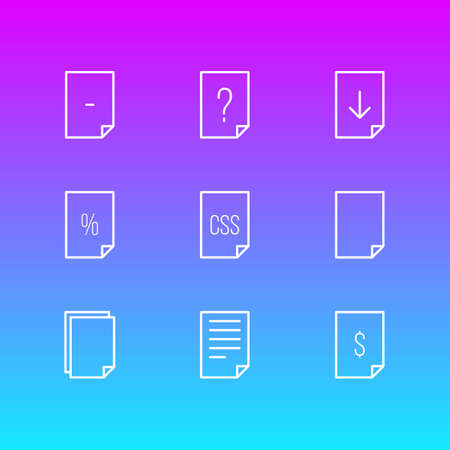 Vector Illustration Of 9 File Icons. Editable Pack Of Percent, Munus, Document And Other Elements.