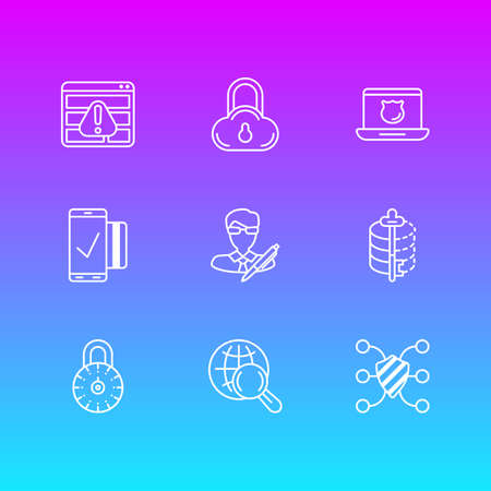 Vector Illustration Of 9 Privacy Icons. Editable Pack Of Easy Payment, Internet Surfing, Data Security And Other Elements.