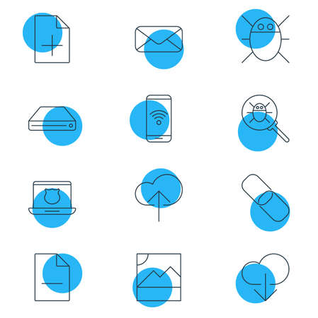 wireless icon: Vector Illustration Of 12 Network Icons. Editable Pack Of Secure Laptop, Photo, Removing File And Other Elements.