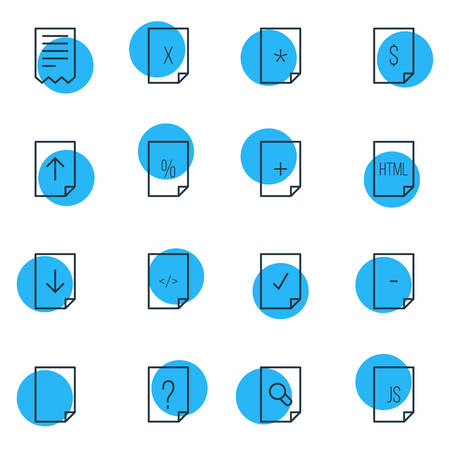 markup: Vector Illustration Of 16 Document Icons. Editable Pack Of Folder, Script, Plus And Other Elements. Illustration