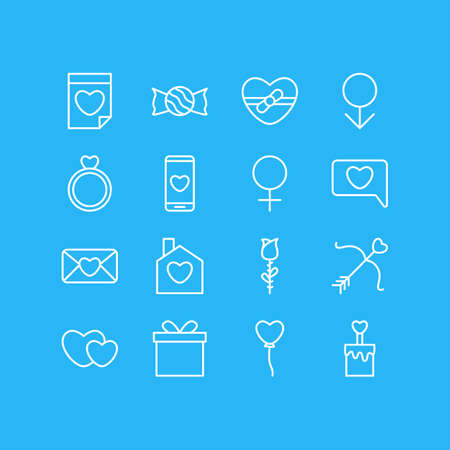 Vector Illustration Of 16 Amour Icons. Editable Pack Of Woman, Present, Male And Other Elements. Illustration