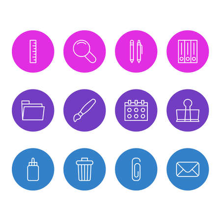 Vector Illustration Of 12 Tools Icons. Editable Pack Of Garbage Container, Binder Clip, Pencil And Other Elements.
