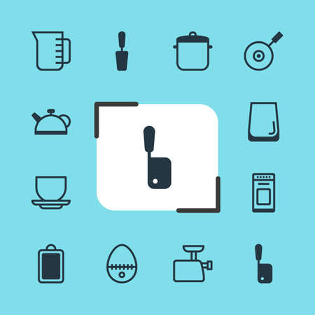 browning: Vector Illustration Of 12 Kitchenware Icons. Editable Pack Of Coffee Cup, Teakettle, Chopping Desk And Other Elements. Illustration