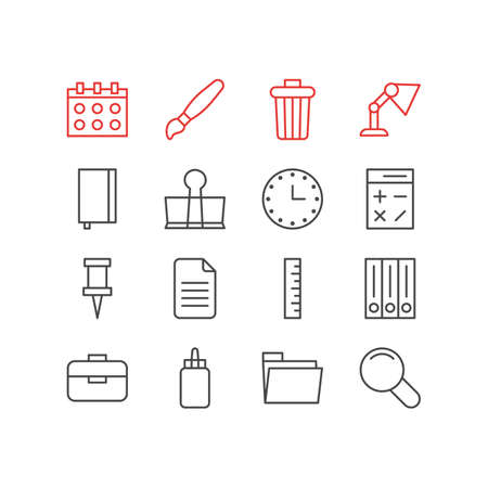 Vector Illustration Of 16 Tools Icons. Editable Pack Of Watch, Pushpin, Date And Other Elements.