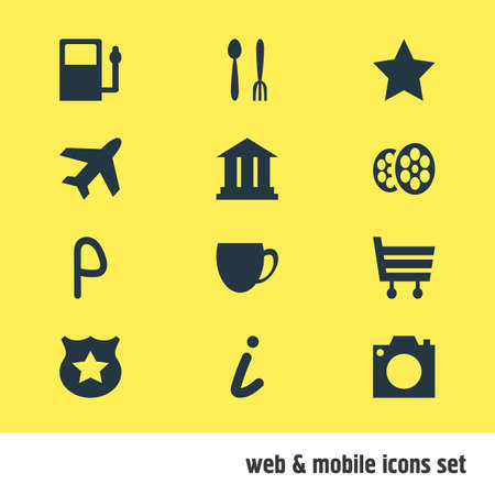Vector Illustration Of 12 Location Icons. Editable Pack Of Photo Device, Cafe, University And Other Elements. 向量圖像