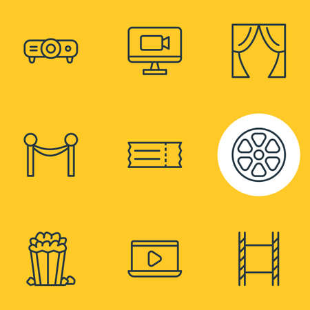 Vector Illustration Of 9 Cinema Icons