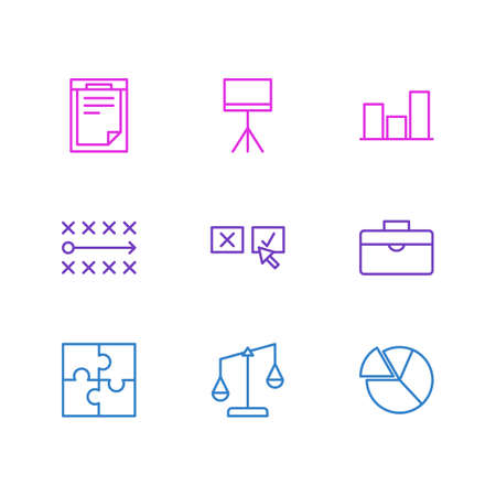 Vector Illustration Of 9 Management Icons Illustration