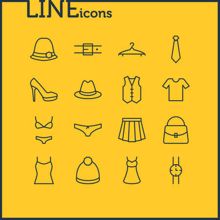 Vector Illustration Of 16 Clothes Icons