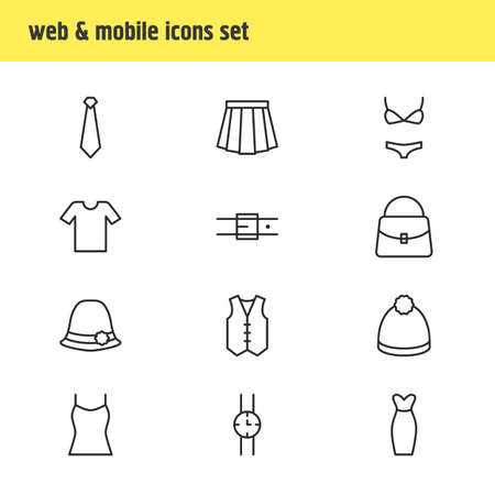 Vector Illustration Of 12 Clothes Icons 向量圖像