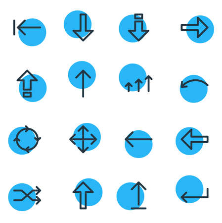 Vector Illustration Of 16 Arrows Icons. Editable Pack Of Shrift, Turn, Right And Other Elements.