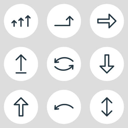 Vector Illustration Of 9 Arrows Icons