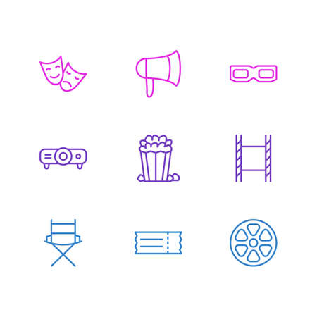 Vector Illustration Of 9 Movie Icons. Editable Pack Of Slideshow, Snack, Tragedy And Other Elements.