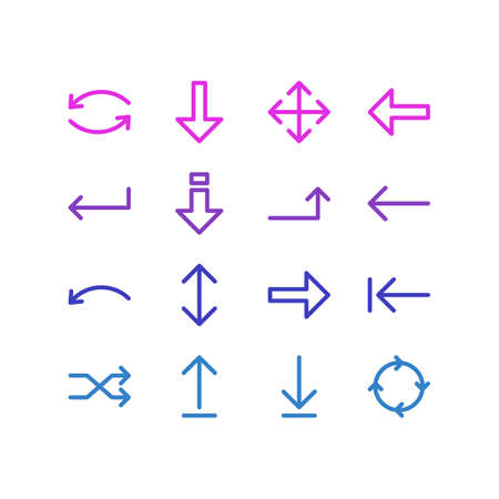 Vector Illustration Of 16 Arrows Icons. Editable Pack Of Left, Exchange, Direction And Other Elements.