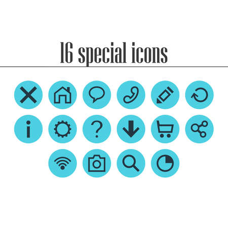 Vector Illustration Of 16 Member Icons