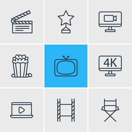 Vectorillustratie van 9 bioscoop iconen
