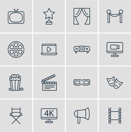 celebrities: Vector Illustration Of 16 Film Icons