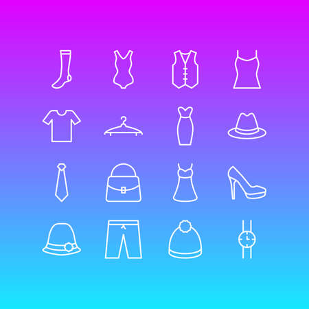 Vector Illustration Of 16 Dress Icons. Editable Pack Of Casual, Waistcoat, Hand Clock Elements.