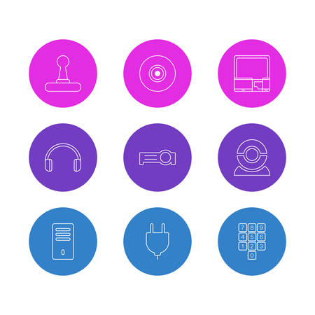 Vector Illustration Of 9 Notebook Icons. Editable Pack Of Headsets, Presentation, Gadgets And Other Elements.