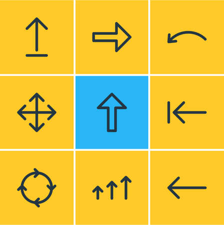 Vector Illustration Of 9 Arrows Icons. Editable Pack Of Right, Circle, Submit And Other Elements. Illustration