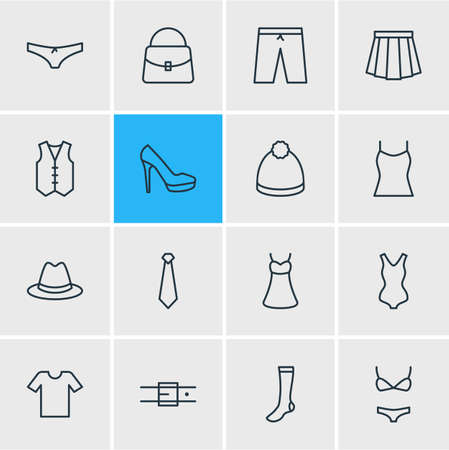 Vector Illustration Of 16 Garment Icons. Editable Pack Of Panties, Cravat, Swimming Trunks And Other Elements.