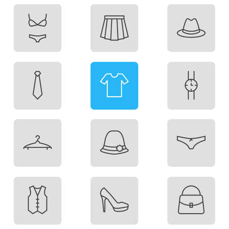 hangers: Vector Illustration Of 12 Dress Icons