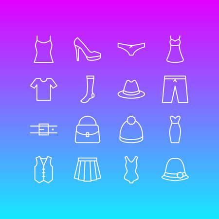 Vector Illustration Of 16 Dress Icons Illustration
