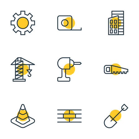 drill: Vector Illustration Of 9 Industry Icons. Editable Pack Of Cogwheel, Apartment, Hacksaw And Other Elements.
