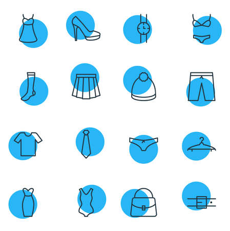 hosiery: Vector Illustration Of 16 Garment Icons. Editable Pack Of Swimsuit, Handbag, Cloakroom Elements.