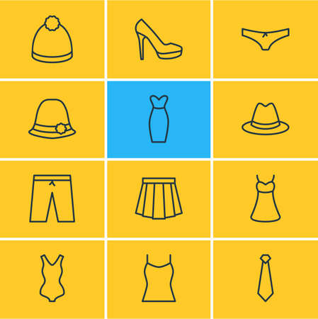 petticoat: Vector Illustration Of 12 Clothes Icons. Editable Pack Of Swimwear, Fedora, Sarafan And Other Elements.