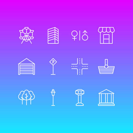 Vector Illustration Of 12 Public Icons